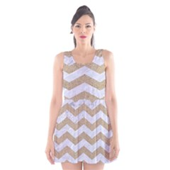 Chevron3 White Marble & Sand Scoop Neck Skater Dress