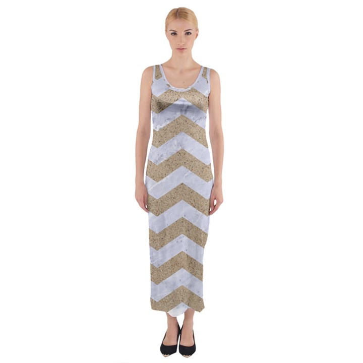 CHEVRON3 WHITE MARBLE & SAND Fitted Maxi Dress