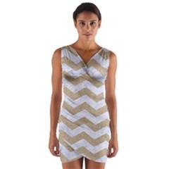 Chevron3 White Marble & Sand Wrap Front Bodycon Dress