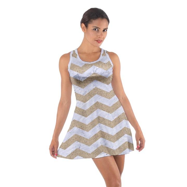 CHEVRON3 WHITE MARBLE & SAND Cotton Racerback Dress