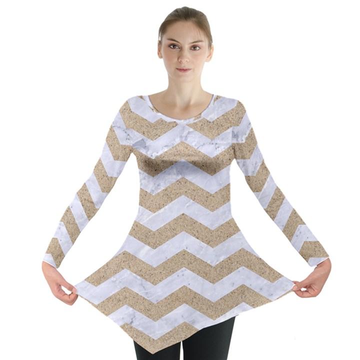 CHEVRON3 WHITE MARBLE & SAND Long Sleeve Tunic