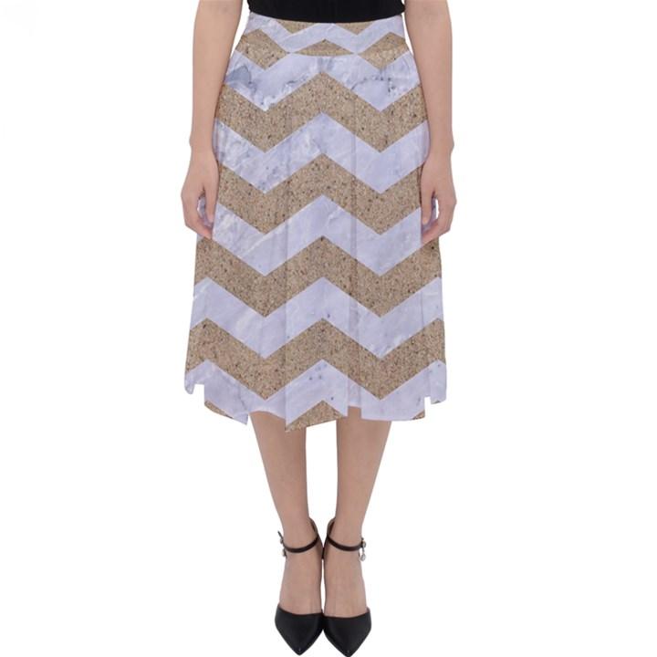 CHEVRON3 WHITE MARBLE & SAND Folding Skater Skirt