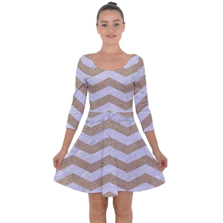 CHEVRON3 WHITE MARBLE & SAND Quarter Sleeve Skater Dress