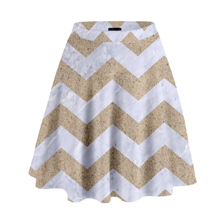 CHEVRON3 WHITE MARBLE & SAND High Waist Skirt