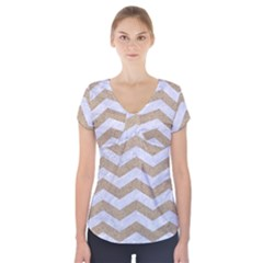 Chevron3 White Marble & Sand Short Sleeve Front Detail Top