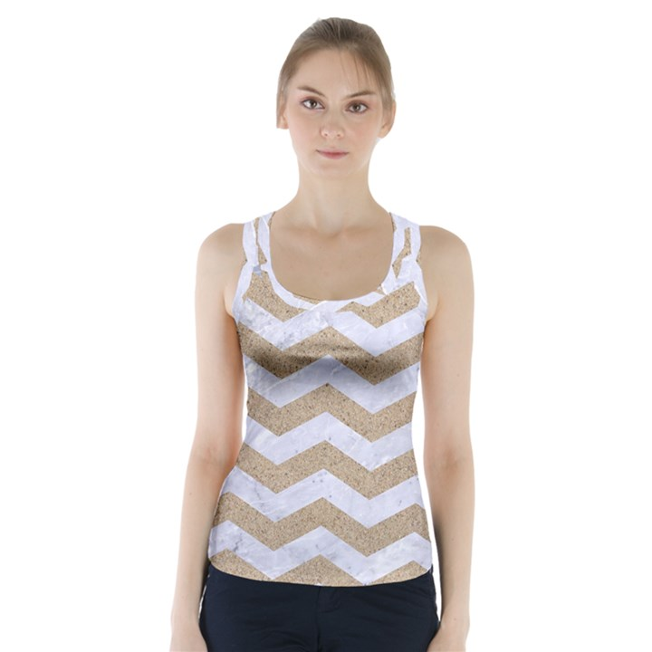 CHEVRON3 WHITE MARBLE & SAND Racer Back Sports Top