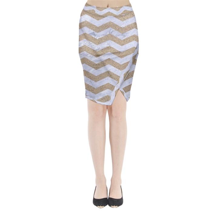 CHEVRON3 WHITE MARBLE & SAND Midi Wrap Pencil Skirt