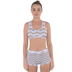 Chevron3 White Marble & Sand Racerback Boyleg Bikini Set