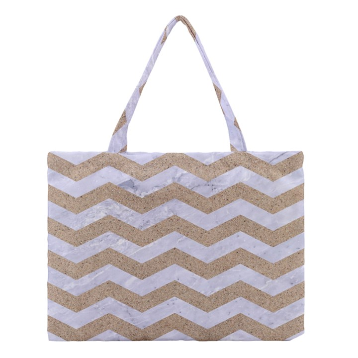 CHEVRON3 WHITE MARBLE & SAND Medium Tote Bag