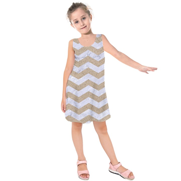 CHEVRON3 WHITE MARBLE & SAND Kids  Sleeveless Dress