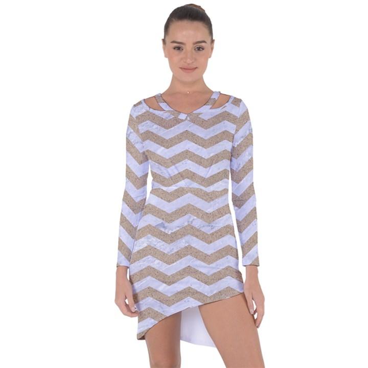CHEVRON3 WHITE MARBLE & SAND Asymmetric Cut-Out Shift Dress