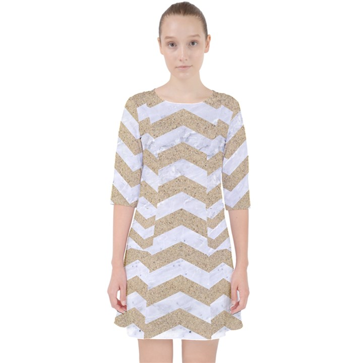 CHEVRON3 WHITE MARBLE & SAND Pocket Dress