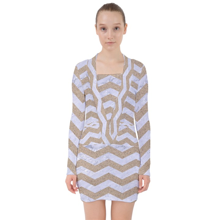 CHEVRON3 WHITE MARBLE & SAND V-neck Bodycon Long Sleeve Dress