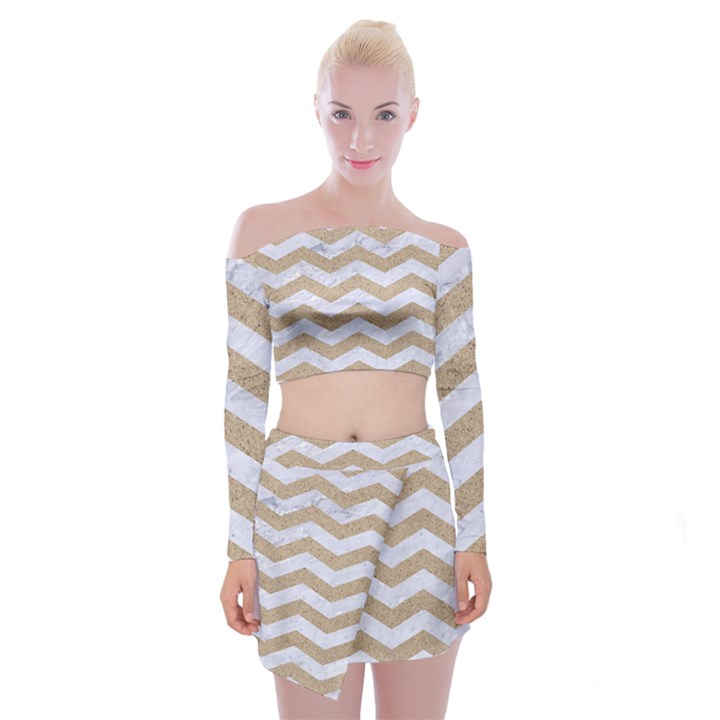 CHEVRON3 WHITE MARBLE & SAND Off Shoulder Top with Mini Skirt Set