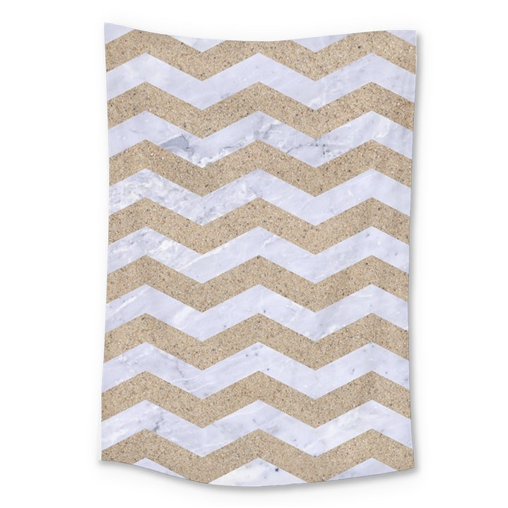 CHEVRON3 WHITE MARBLE & SAND Large Tapestry