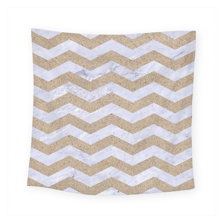 CHEVRON3 WHITE MARBLE & SAND Square Tapestry (Small)