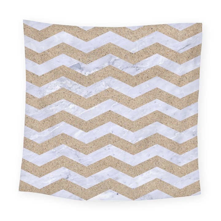 CHEVRON3 WHITE MARBLE & SAND Square Tapestry (Large)