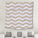 CHEVRON3 WHITE MARBLE & SAND Square Tapestry (Large) View2