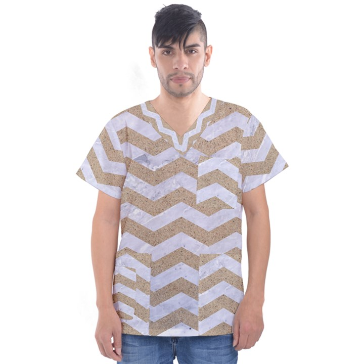 CHEVRON3 WHITE MARBLE & SAND Men s V-Neck Scrub Top