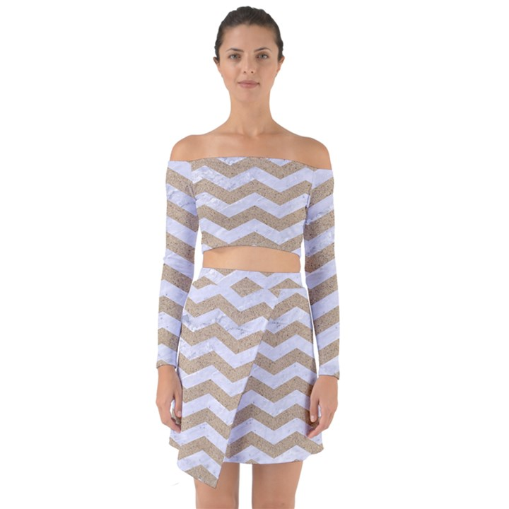 CHEVRON3 WHITE MARBLE & SAND Off Shoulder Top with Skirt Set