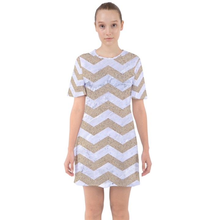 CHEVRON3 WHITE MARBLE & SAND Sixties Short Sleeve Mini Dress