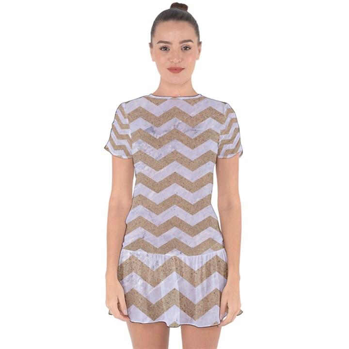CHEVRON3 WHITE MARBLE & SAND Drop Hem Mini Chiffon Dress