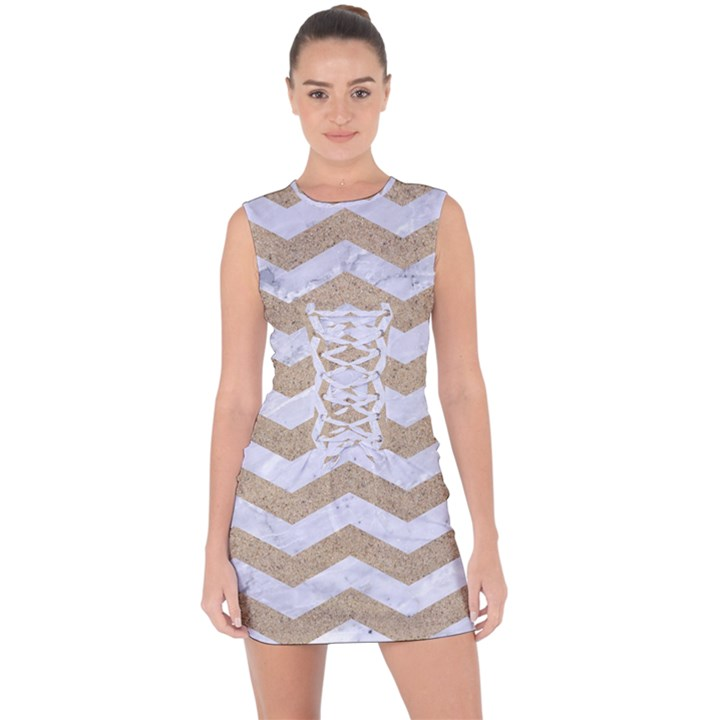 CHEVRON3 WHITE MARBLE & SAND Lace Up Front Bodycon Dress