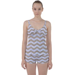 Chevron3 White Marble & Sand Tie Front Two Piece Tankini