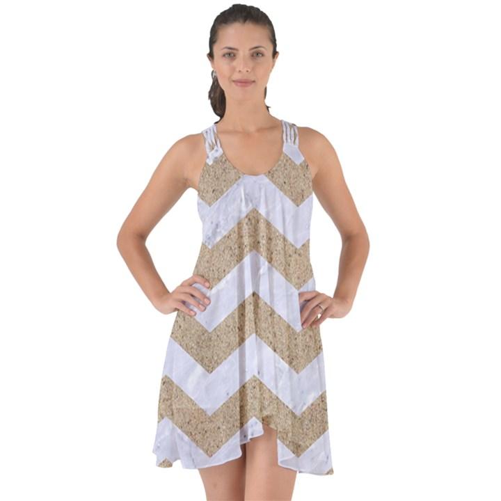 CHEVRON3 WHITE MARBLE & SAND Show Some Back Chiffon Dress