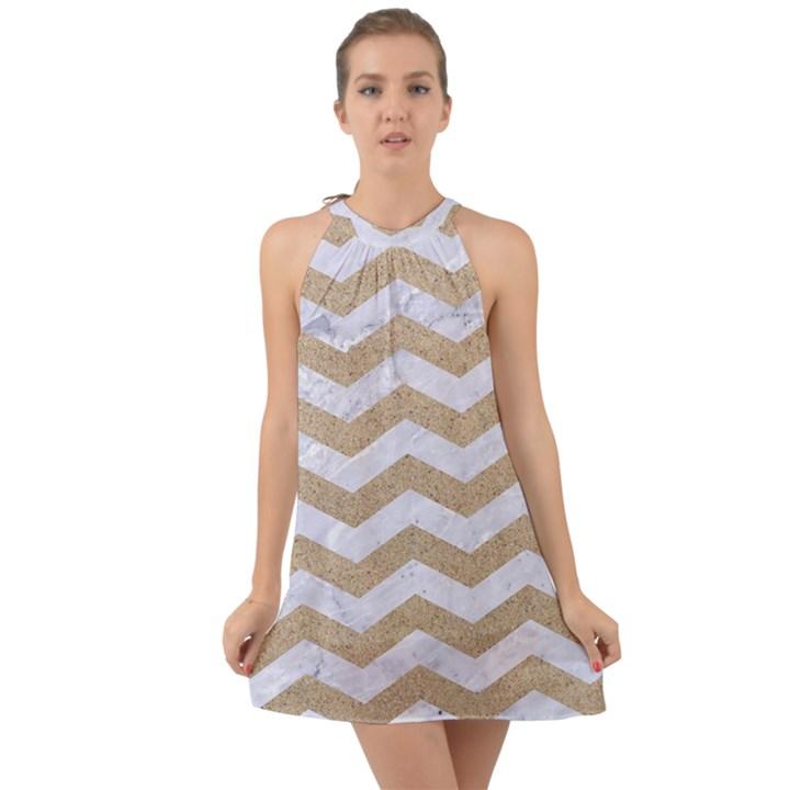 CHEVRON3 WHITE MARBLE & SAND Halter Tie Back Chiffon Dress