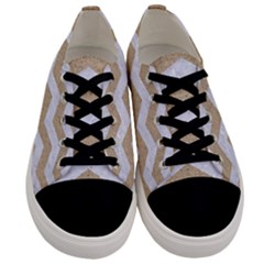 Chevron3 White Marble & Sand Men s Low Top Canvas Sneakers