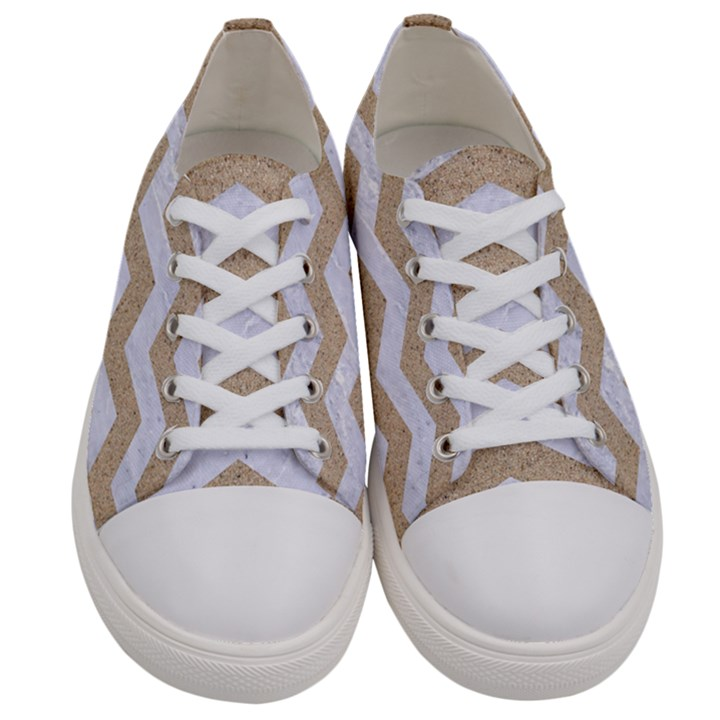 CHEVRON3 WHITE MARBLE & SAND Women s Low Top Canvas Sneakers