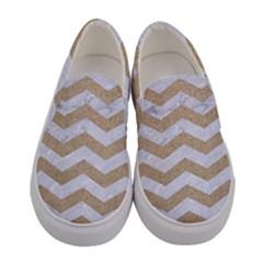 Chevron3 White Marble & Sand Women s Canvas Slip Ons