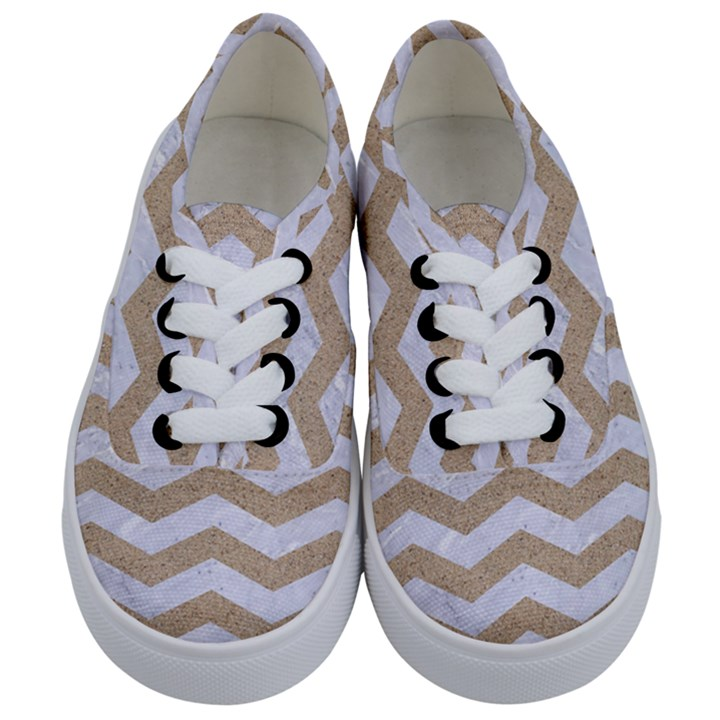 CHEVRON3 WHITE MARBLE & SAND Kids  Classic Low Top Sneakers