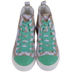 Chevron3 White Marble & Sand Women s Mid Top Canvas Sneakers