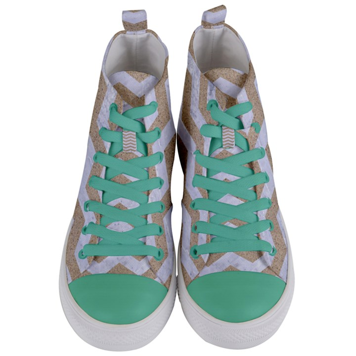 CHEVRON3 WHITE MARBLE & SAND Women s Mid-Top Canvas Sneakers