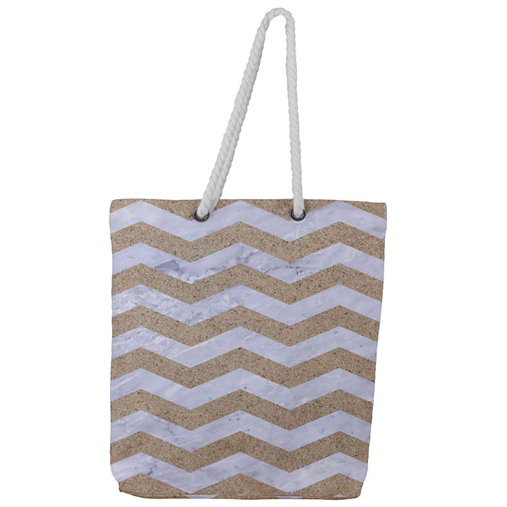 CHEVRON3 WHITE MARBLE & SAND Full Print Rope Handle Tote (Large)