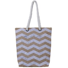 Chevron3 White Marble & Sand Full Print Rope Handle Tote (small)