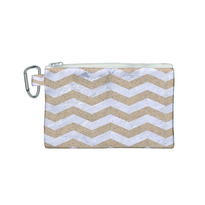 CHEVRON3 WHITE MARBLE & SAND Canvas Cosmetic Bag (Small)
