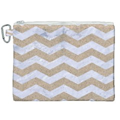 Chevron3 White Marble & Sand Canvas Cosmetic Bag (xxl)