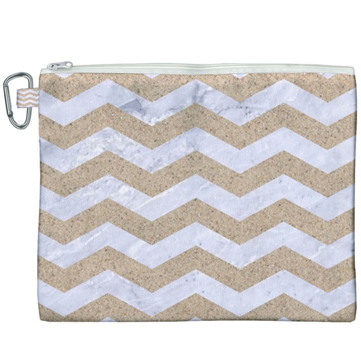 CHEVRON3 WHITE MARBLE & SAND Canvas Cosmetic Bag (XXXL)