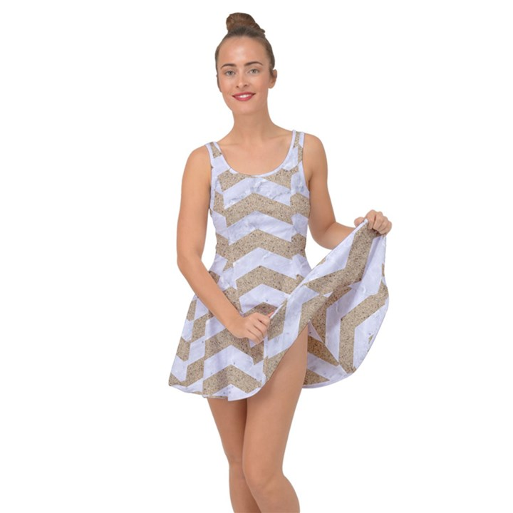 CHEVRON3 WHITE MARBLE & SAND Inside Out Dress