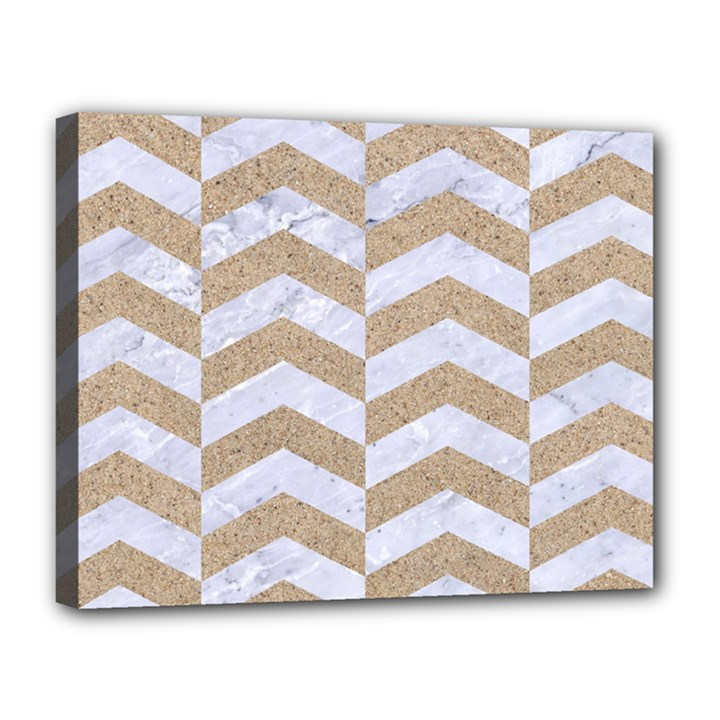 CHEVRON2 WHITE MARBLE & SAND Canvas 14  x 11