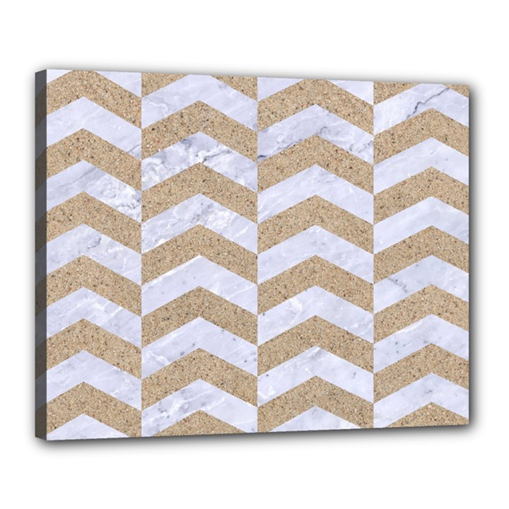 CHEVRON2 WHITE MARBLE & SAND Canvas 20  x 16