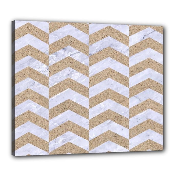 CHEVRON2 WHITE MARBLE & SAND Canvas 24  x 20