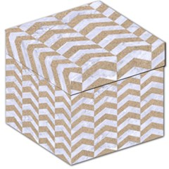 Chevron2 White Marble & Sand Storage Stool 12