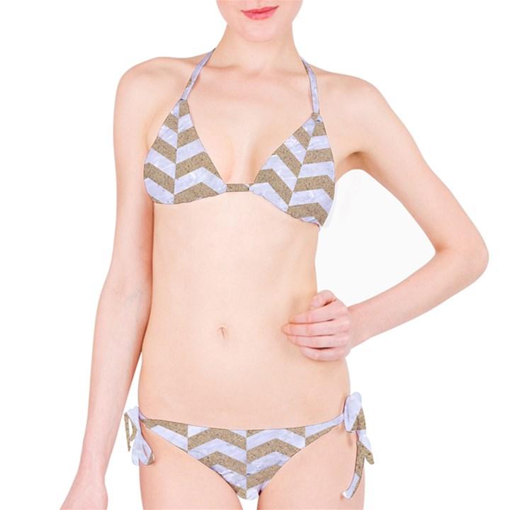 CHEVRON2 WHITE MARBLE & SAND Bikini Set