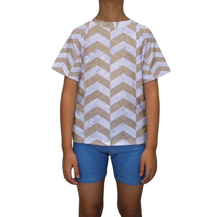 CHEVRON2 WHITE MARBLE & SAND Kids  Short Sleeve Swimwear