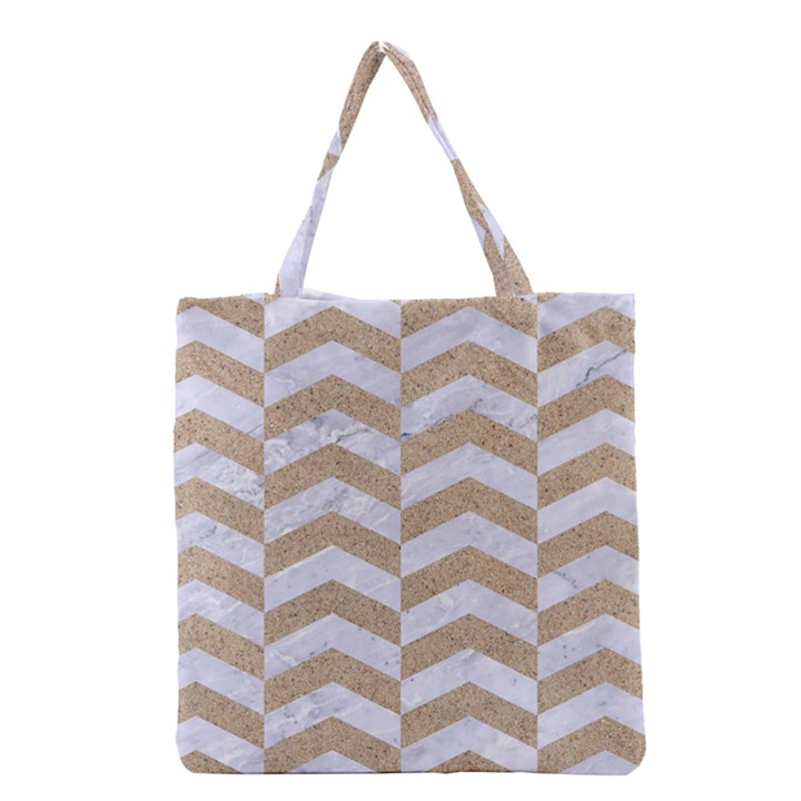 CHEVRON2 WHITE MARBLE & SAND Grocery Tote Bag