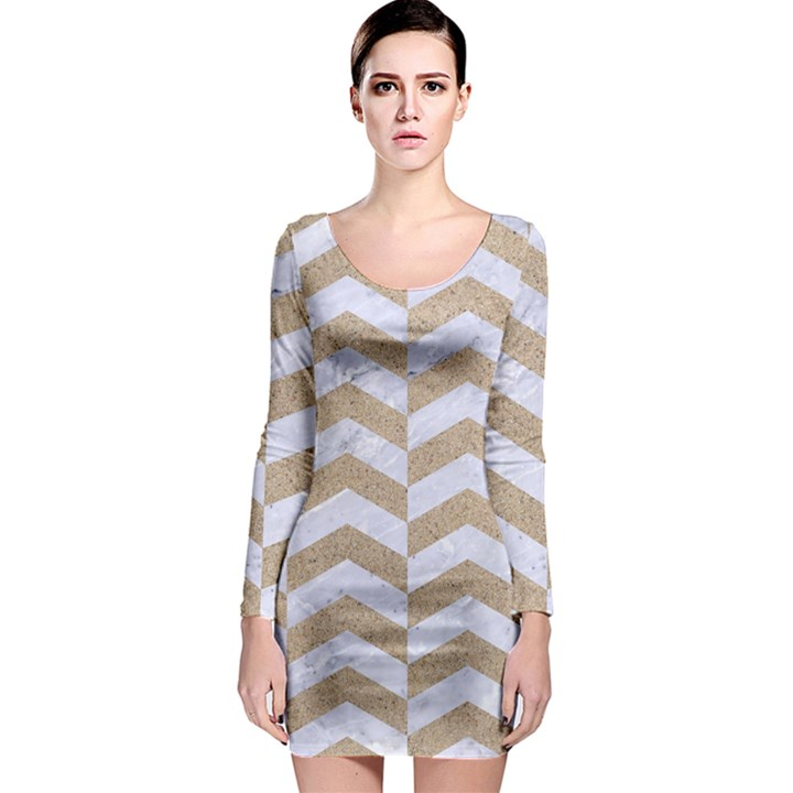 CHEVRON2 WHITE MARBLE & SAND Long Sleeve Bodycon Dress
